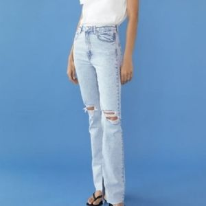 Zara flared ripped slim fit jeans